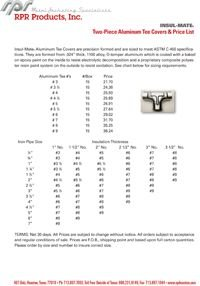 RPR Products P29 Two-Piece AluminumTee Covers & Price List Insul-Mate.pdf