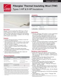 OC Fiberglas Thermal Insulating Wool TIW Types I-HP and II-HP Product Data Sheet.pdf
