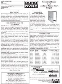 Duro Dyne DAD Insulated Access Doors Hinged Specs.pdf