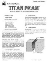 Titan Foam Tech Data