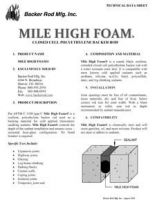 Mile High Foam Tech Data