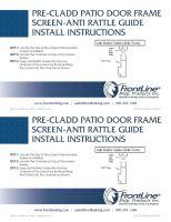 Pre-Clad Patio Door Frame Screen Anti-Rattle Guide
