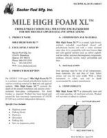 Mile High Foam XL Tech Data